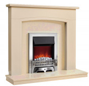 Be Modern Ellonby Soft White Finish Surround with Marfil Micro Marble Back Panel and Hearth