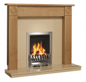 Be Modern Lewiston 48 Inch Surround W/ Marble Fireplace - Natural Oak/Marfil