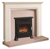 Be Modern Westerdale Soft White Finish Surround with Manila Micro Marble Back Panel and Hearth