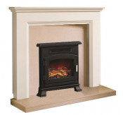 Be Modern Westerdale Soft White Finish Surround with Marfil Micro Marble Back Panel and Hearth
