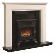 Be Modern Westerdale Soft White Finish Surround with Black Granite Back Panel and Hearth