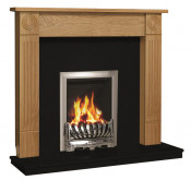 Be Modern Lewiston Surround W/ Marble Fireplace - Natural Oak/Black Granite