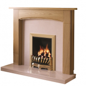 Be Modern Logan Natural Oak Finish Surround with Manila Micro Marble Back Panel and Hearth