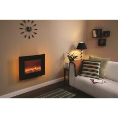 Be Modern Quattro Wall Mounted Electric Fire - Curved Black Glass