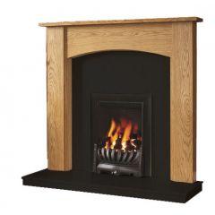 Be Modern Darwin 48 Inch Surround W/ Marble Fireplace - Golden Oak/Black Granite