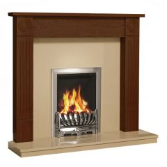 Be Modern 48 Inch Lewiston Surround W/ Marble Fireplace - Warm Oak/Marfil