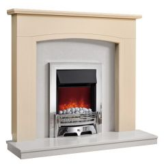 Be Modern Ellonby Soft White Finish Surround with Manila Micro Marble Back Panel and Hearth