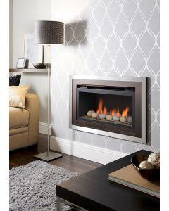 Crystal Florida HE Pebble Gas Fire - Brushed Steel/Black W/ Black Interior
