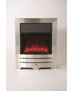 Be Modern Enrico Inset LED Electric Fire - Brushed Steel