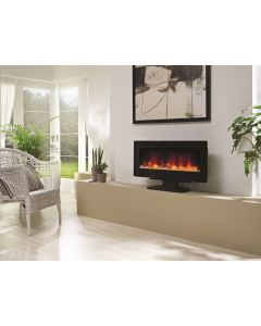 Be Modern Amari Wall Mounted/Freestanding LED Electric Fire - Flat Black Glass