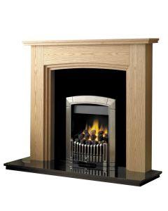 Rotherham 54 Inch Fireplace W/ Lights - Clear Oak/Black Granite