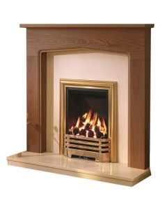Be Modern Tudor Warm Oak Finish Surround with Marfil Micro Marble Back Panel and Hearth