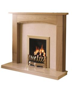 Be Modern Logan Natural Oak Finish Surround with Marfil Micro Marble Back Panel and Hearth