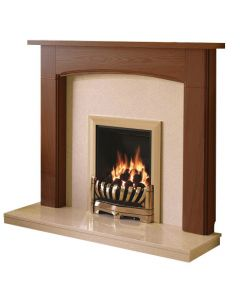 Be Modern Logan Warm Oak Finish Surround with Marfil Micro Marble Back Panel and Hearth
