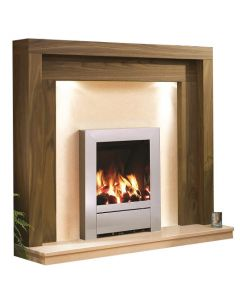 Be Modern Kansas Natural Oak Finish Surround with Marfil Micro Marble Back Panel and Hearth