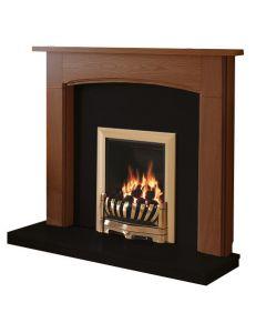 Be Modern Logan Warm Oak Finish Surround with Black Granite Back Panel and Hearth