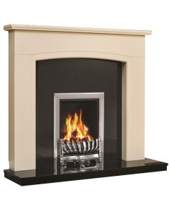 Be Modern Ellonby Soft White Finish Surround with Black Granite Back Panel and Hearth