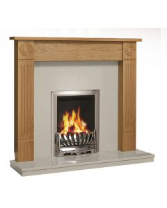 Be Modern Lewiston 48 Inch Surround W/ Marble Fireplace - Natural Oak/Manila