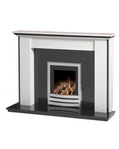 Caterham Stanstead 54 Inch Fireplace - Arctic White W/ Black Granite