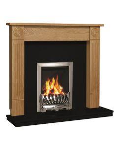 Be Modern Lewiston Surround W/ Marble Fireplace - Natural Oak/Black Granite