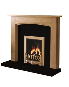 Be Modern Logan Natural Oak Finish Surround with Black Granite Back Panel and Hearth