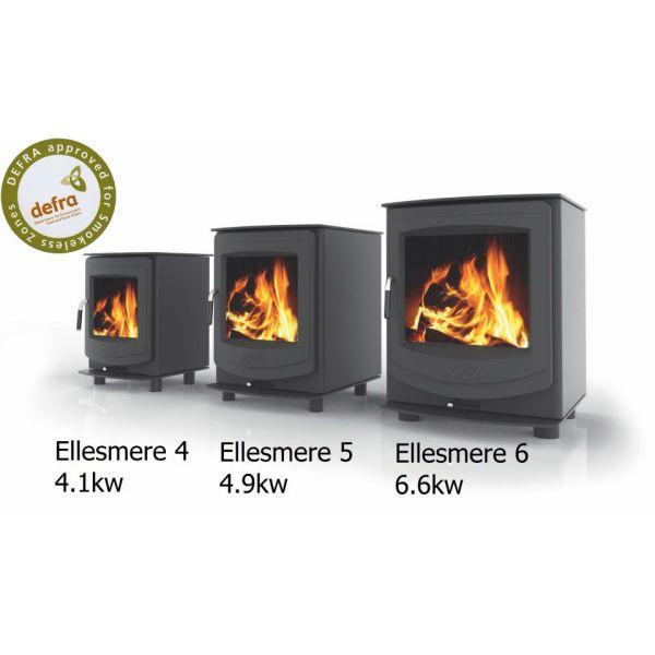 Aga Ellesmere 6 Multifuel Stove - Matte Black