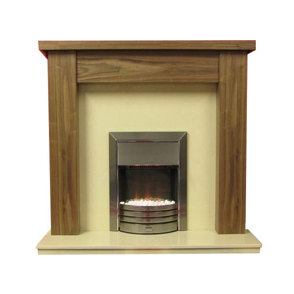 Stratford American Walnut Finish Surround with Mocha Beige Marble Fireplace Package
