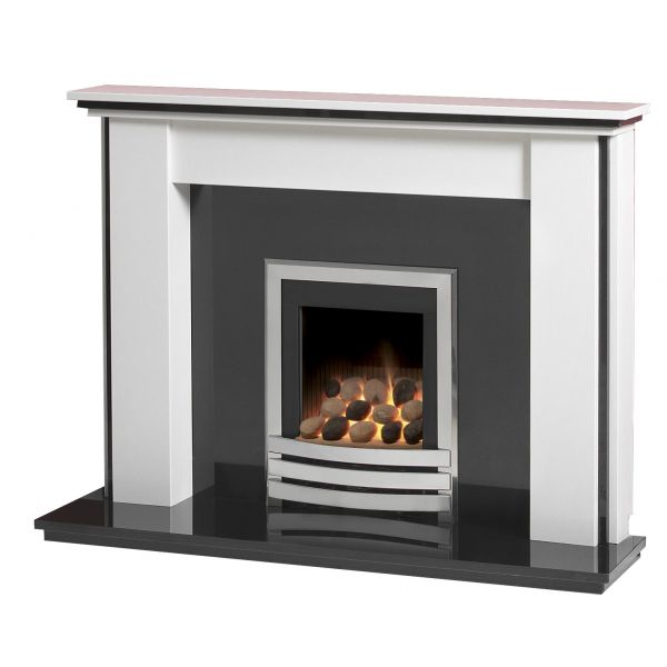Caterham Stanstead 54 Inch Fireplace - Arctic White W/ Black Granite