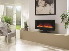 Be Modern Amari Wall Mounted/Freestanding LED Electric Fire - Flat Black Glass