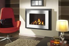 Crystal Manhattan HE Log Gas Fire - Brushed Steel W/ Black Interior