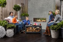 Faber Mood Natural Gas Log Gas Fire - Corten Steel Interior FREE FLUE PIPE