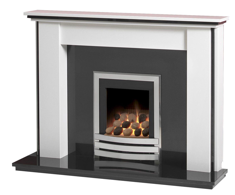 Fantastic Caterham Stanstead 54 Inch Fireplace Arctic White W Black Granite Interior Design Ideas Inamawefileorg