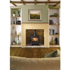 Dovre 280 Natural Gas Logs Balanced Flue Gas Stove - Matte Black