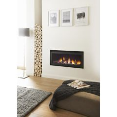 Crystal Fires Connelly Collection Denver Wide HE Log Gas Fire - Brushed Steel W/ Black Interior