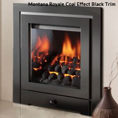 Crystal Montana HE Coal Remote Control Gas Fire - 3 Sided Brushed Steel Royale