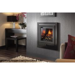 Crystal Montana HE Coal Remote Control Gas Fire - 4 Sided Brushed Steel Royale