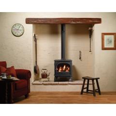 Dovre 425 Natural Gas Logs Conventional Flue Gas Stove - Matte Black
