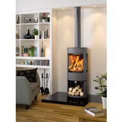 Dovre Astroline 4CB Multifuel Stove - Anthracite / Wood Store