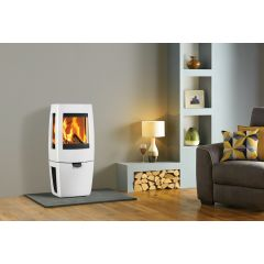 Dovre Sense 203 Wood Burning Stove - Pure White Enamel / Glass Sides