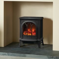Gazco Huntingdon 20 Tracery Door, Matte Black Electric Stove