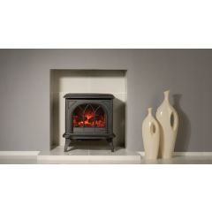 Gazco Huntingdon 30 Electric Stove - Matte Black With Tracery Door