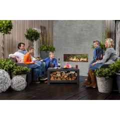 Faber Mood Natural Gas Log Gas Fire - Corten Steel Interior FREE FLUE PIPE