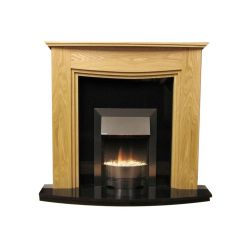 Lewis Natural Oak Surround with Black Granite Marble Fireplace