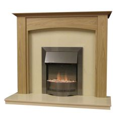 Parkrose 48 Inch Surround W/ Marble Fireplace - Natural Oak/Mocha Beige