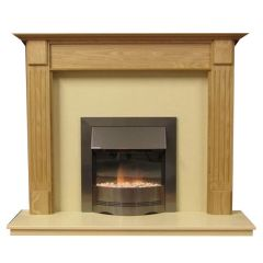 Henley 54 Inch Surround W/ Marble Fireplace - Natural Oak/Mocha Beige