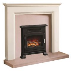 Be Modern Westerdale Soft White Finish Surround with Back Panel and Hearth