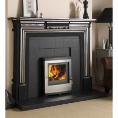 Esse 350 DEFRA Approved Inset Multifuel Stove - Stainless Steel Contemporary Door