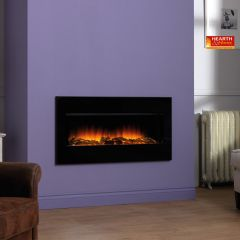 Flamerite Essence Omni Glide Hole In The Wall Log Electric Fire - Black Glass