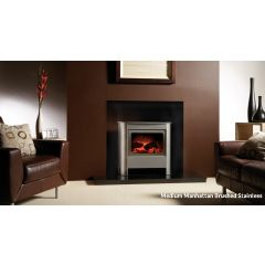 Gazco Medium Manhattan Electric Stove - Brushed Stainless