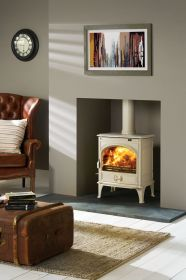 Dovre 425MFR Multifuel Stove - Ivory White / Riddling Gate